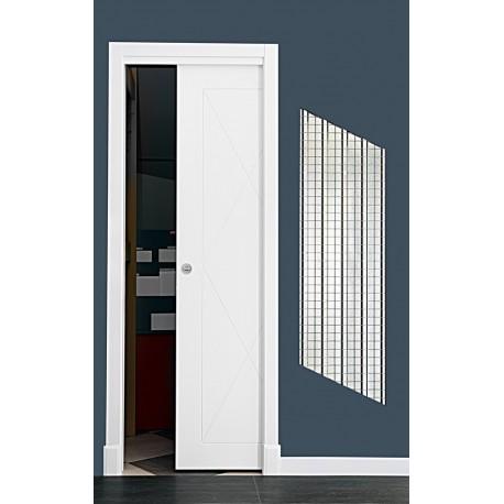 Puerta modelo ml17 corredera lacada blanca rodapies for Puerta lacada blanca