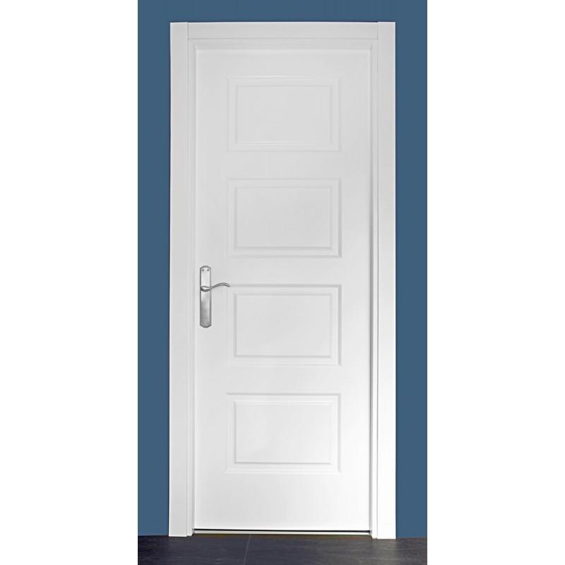 Puerta modelo 400 lacada blanca rodapies lacados de madera for Puerta lacada blanca
